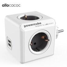 Allocacoc Ban Đầu PowerCube Ổ Cắm DE Cắm 4 Ổ Cắm Cổng USB Kép Dán Cường Lực Mở Rộng Bộ Đa Chuyển Ổ Cắm Xám