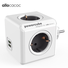 Allocacoc Original PowerCube Socket DE Plug 4 Outlets Dual USB Ports Power Strip Extension Adapter Multi Switched Socket Gray