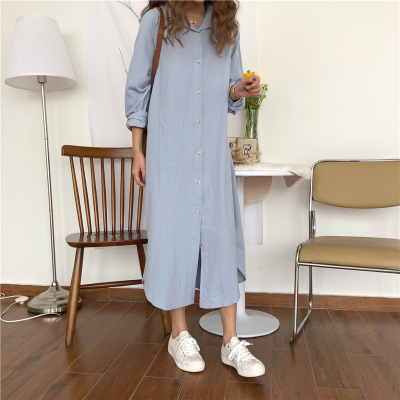 Vintage autumn Long Dress long Sleeve shirt turn down collar woman Lady loose shirt Casual Fashion maxi Dress cotton blue white 8