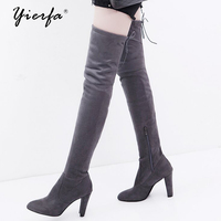 Women Boots Foreign Trade Large Size Autumn And Winter Zipper Boots With The Knee Was Thin