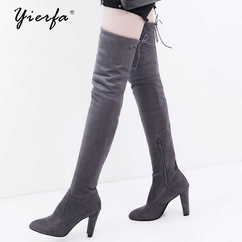 Women boots Foreign trade large size autumn and winter zipper boots with the knee was thin and high with thick boots spring and autumn self cultivation was thin elasticity large size boot cut pant straight jeans