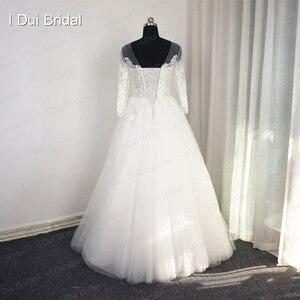 Image 3 - 3 分袖レースアップリケウェディングドレスイリュージョンネック高品質カスタムサイズ花嫁衣装