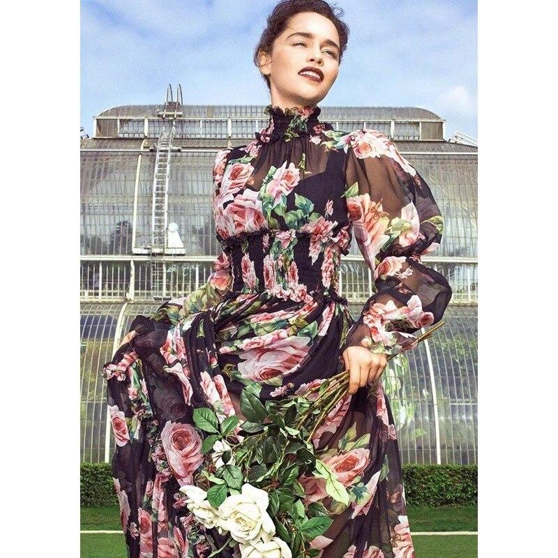 5b29caca26c Mousseline Robe Femmes Rose Imprimer Bouffantes Col Roulé Transparent  Stretch Soie Robes De Printemps Pic As Vintage En Empire Manches ...