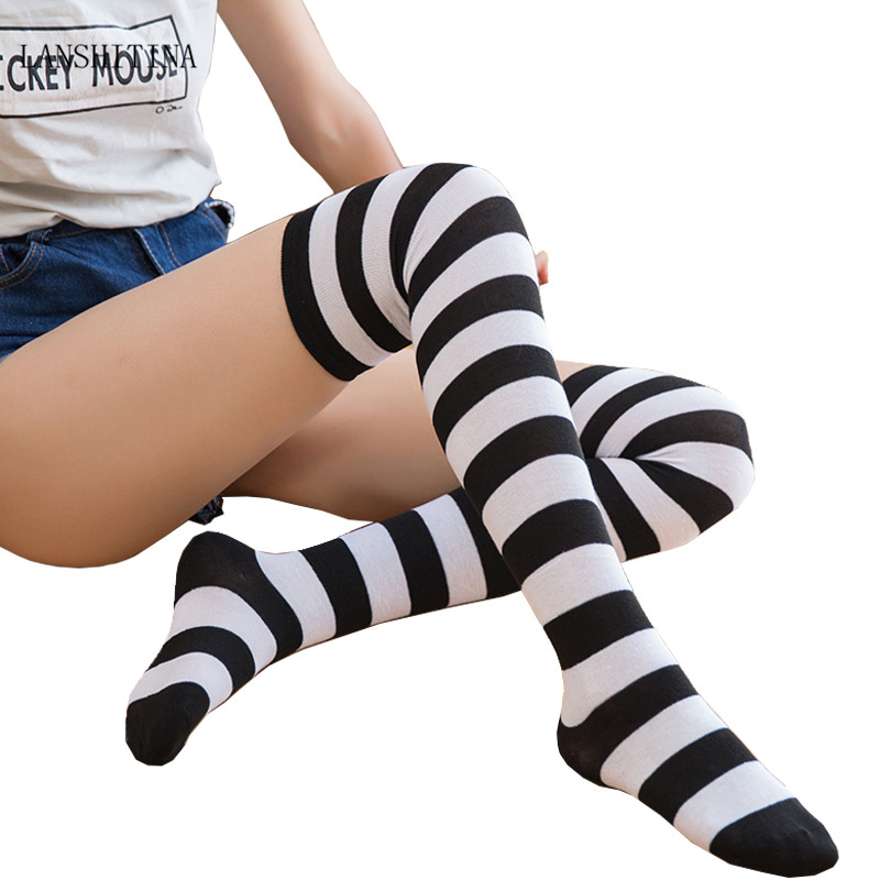 LANSHITINA Women's Striped Knee Socks Fashion Sexy Thigh High Over The Knee Stockings  Striped Long Stockings Blend Cotton