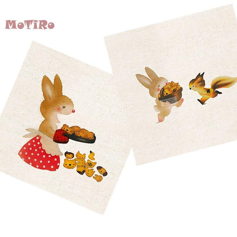 Adaptable Motiro, 2 Stks/partij, Katoen Linnen Stof, Cartoon Patroon Vlakte Hand Geverfd Doek Van Tafel Mat/muis Pad/schort Pocket/kussen Decoratie