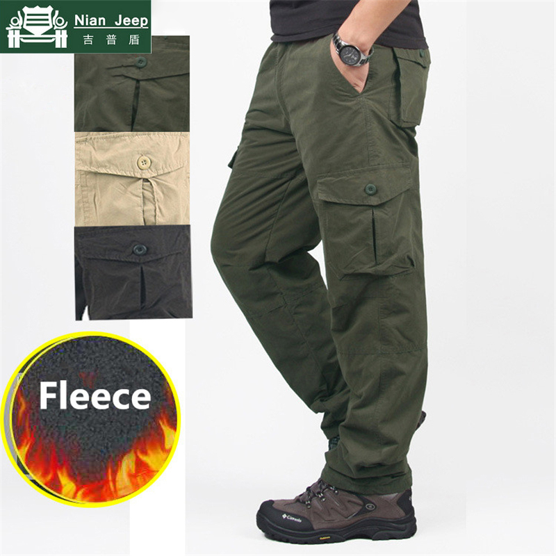 Winter Fleece Cargo Pants Men Streetwear Thick Warm Mens Pants Double Layer Multi Pocket Military Tactical Work Joggers Trousers