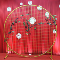 Artificial wedding home party Backdrop stand round Grid Iron Arch mesh gold white black Grid iron arch stand Geometry shelf