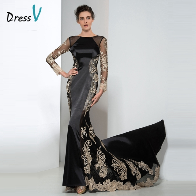 Dressv Black And Gold Lace Long Sleeves Plus Size Evening Dresses ...