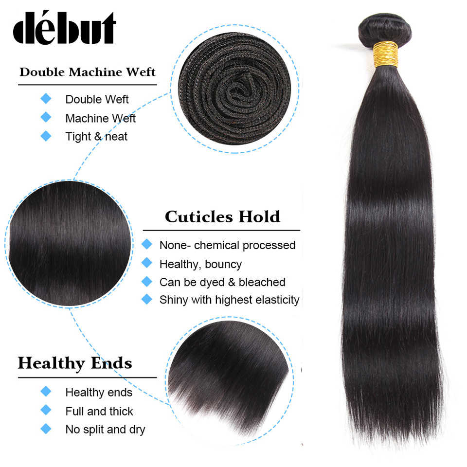Дебютный волос бирманские прямые волосы 3 пучка с фронтальным закрытием бесплатная часть 13*4 уха до уха фронтальные с пучками Бесплатная доставка