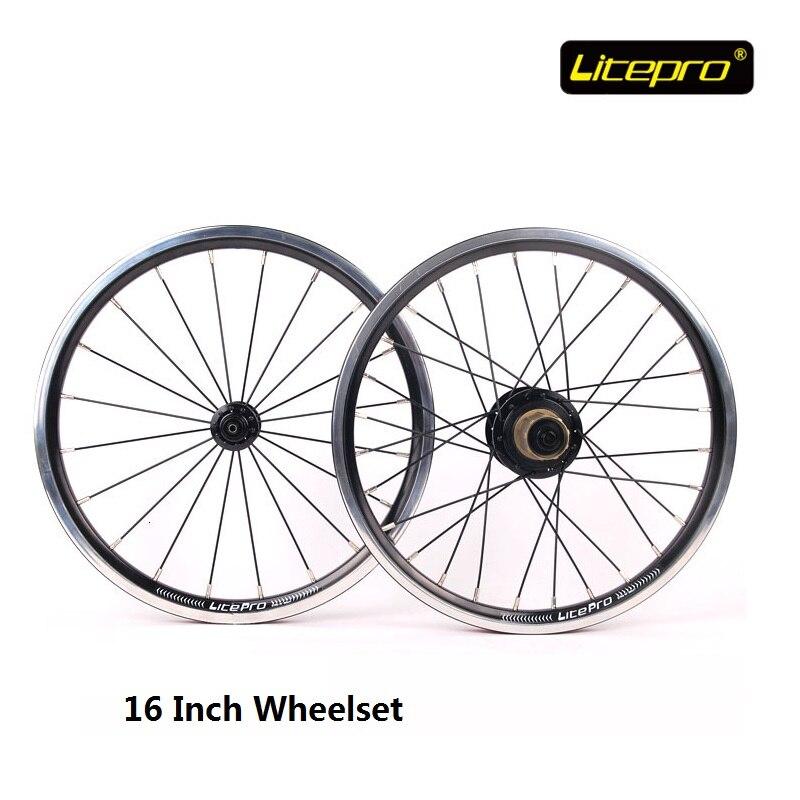 цена на Folding Bike Wheel set Litepro Kpro V Brake 20/28 Hole 16inch 4 Bearing Hub Customization Spokes Bicycle Refitting Accessories