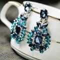 Высокое Качество Текстуры Синий Big Drop Серьги для женщин Лучший Подарок Партии Стекло Кристалл Серьги для Леди