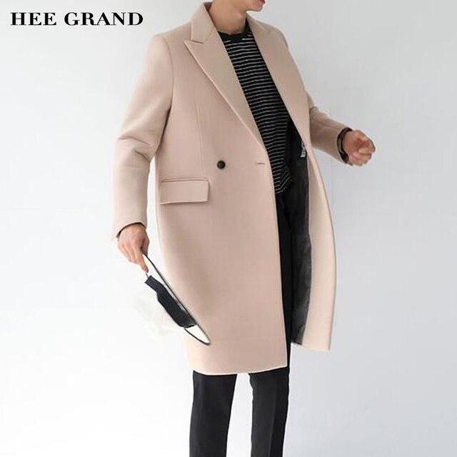 Casaco de cashmere homens hee grand 2017 venda quente de outono trincheira longo inverno jaqueta casual jaqueta masculino m-xxl 2 cores mwn127