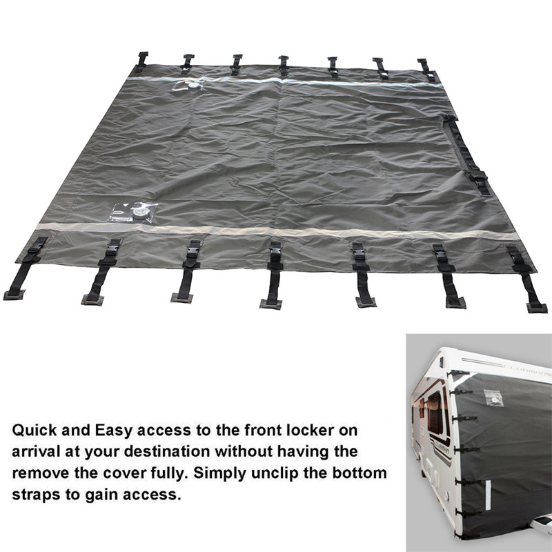 Caravan Front Protector Covers Oxford Waterproof Universal Caravan Cover with Upgraded Fasteners Led Guards Lights for Preventing Stone Chip Dirt Bug Light Reflection