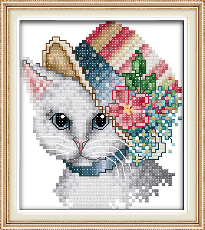 14CT 44x36cm Old Married Couple Stamped Cross Stitch Kit DIY Handmade Needlework for Beginners Kids Adults