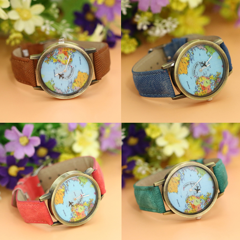 Women dress watches fashion global travel by plane denim fabric women dress watches fashion global travel by plane denim fabric watch blet world map dial pattern female watch 2018 new arrival in lovers watches from gumiabroncs Images