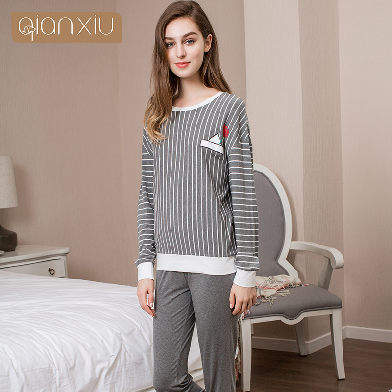 6b2a86dfcd Qianxiu Real Sale Solid Cotton Pajamas Ladies Pyjamas Women Modal Striped  Homedress Spring Letter Print Pajama Sets 17103A-in Pajama Sets from  Underwear ...