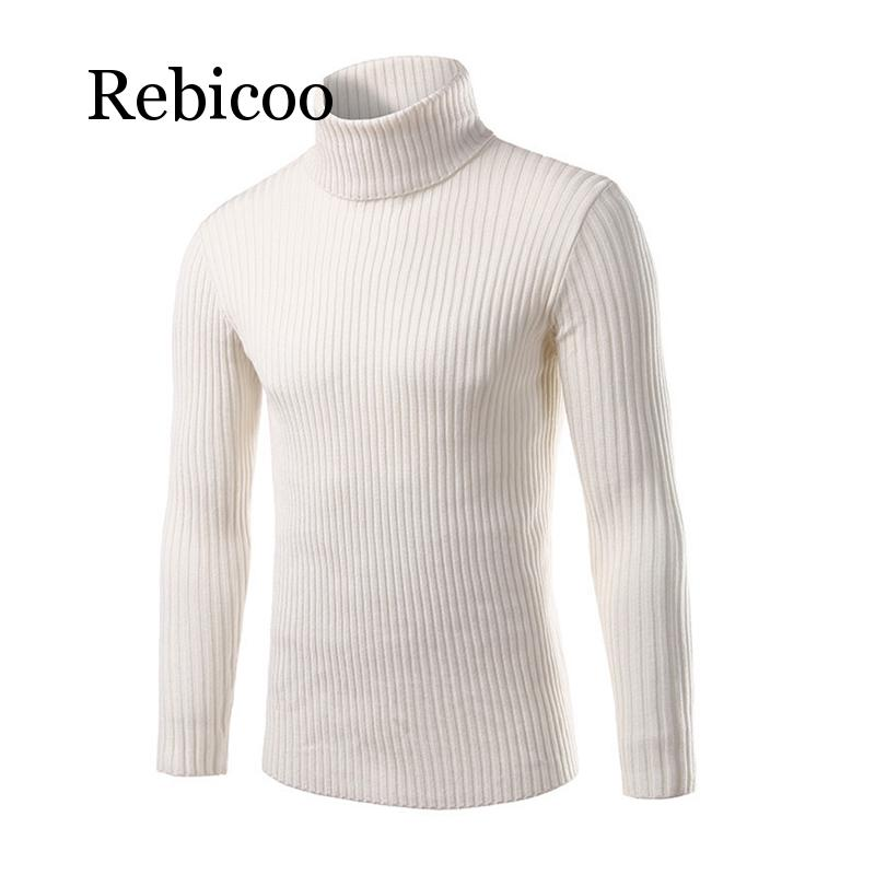 Mens White Sweaters And Pullovers Men Turtle Neck Brand Sweater Male Outerwear Jumper Knitted Turtleneck Sweaters