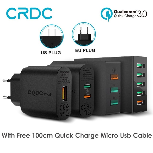 Crdc Quick Charge 3.0 Портативный USB Зарядное устройство смартфон быстро стены Зарядное устройство для iPhone Xiaomi Samsung Galaxy S8 Запасные Аккумуляторы для телефонов зарядки