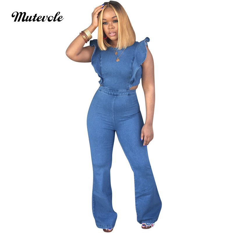 Mutevole Casual Bodycon Sleeveless Jean   Jumpsuits   Women Summer Back Zipper Ruffle   Jumpsuits   Sexy Backless Denim Jeans   Jumpsuit