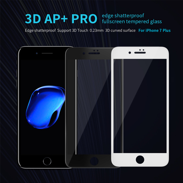 Sfor iphone 7 ap + max vidro temperado nillkin 3d cobertura completa protetor de tela para apple iphone 6 6 s 7 plus