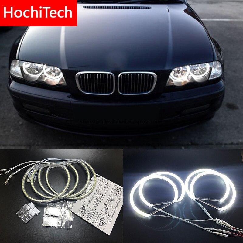 HochiTech para BMW E46 NÃO PROJETO 2600LM Coupe Sedan branco Ultra brilhante SMD LED angel eyes kit de halo anel dia luz 131mm + 146mm
