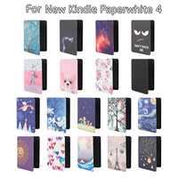 2018 para nuevo Kindle Paperwhite 4 x generación funda protectora carcasa Ultra delgada moda Smart Folio PU Funda de cuero