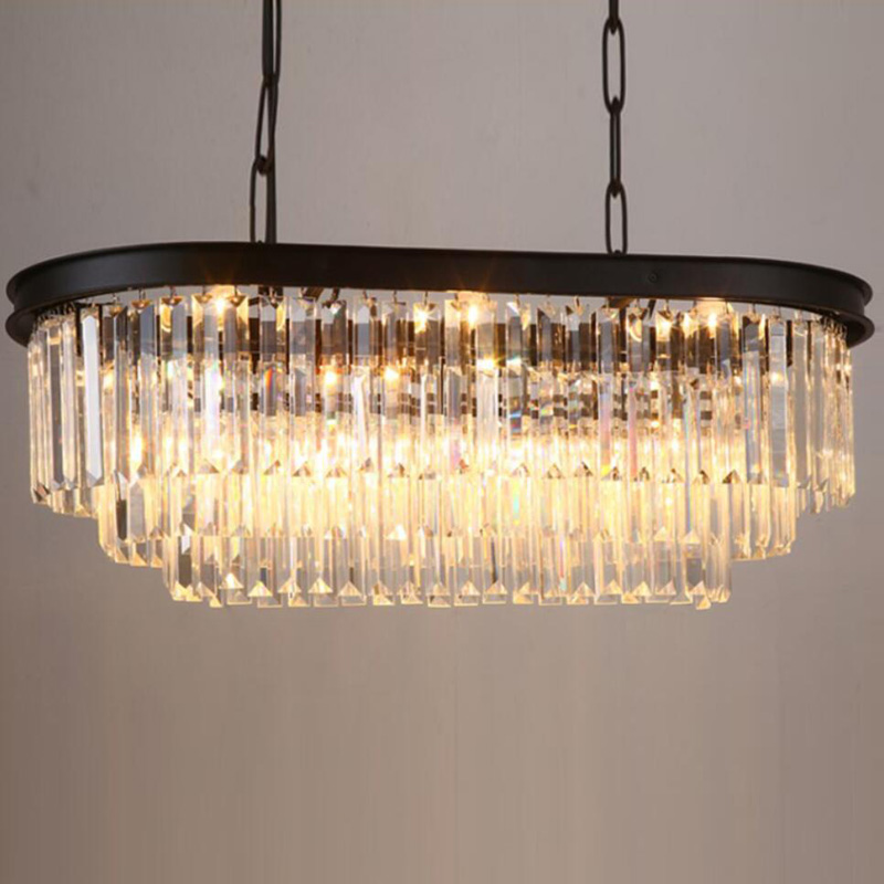 Stadium oval RH American retro vintage hanging chain pendant light lamp LED dinning room crystal glass ceiling pendant lamp LED - 4