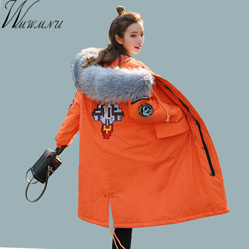 Wmwmnu 2017 Womens Embroidered Coat Parkas Winter Mid-Long Winter big faux fur collar outerwear Warm thick down Jacket with hood womens parkas with fur hoods winter warm long denim jeans velvet hooded long ladies wool coat jacket 2017 plus size blue clothes