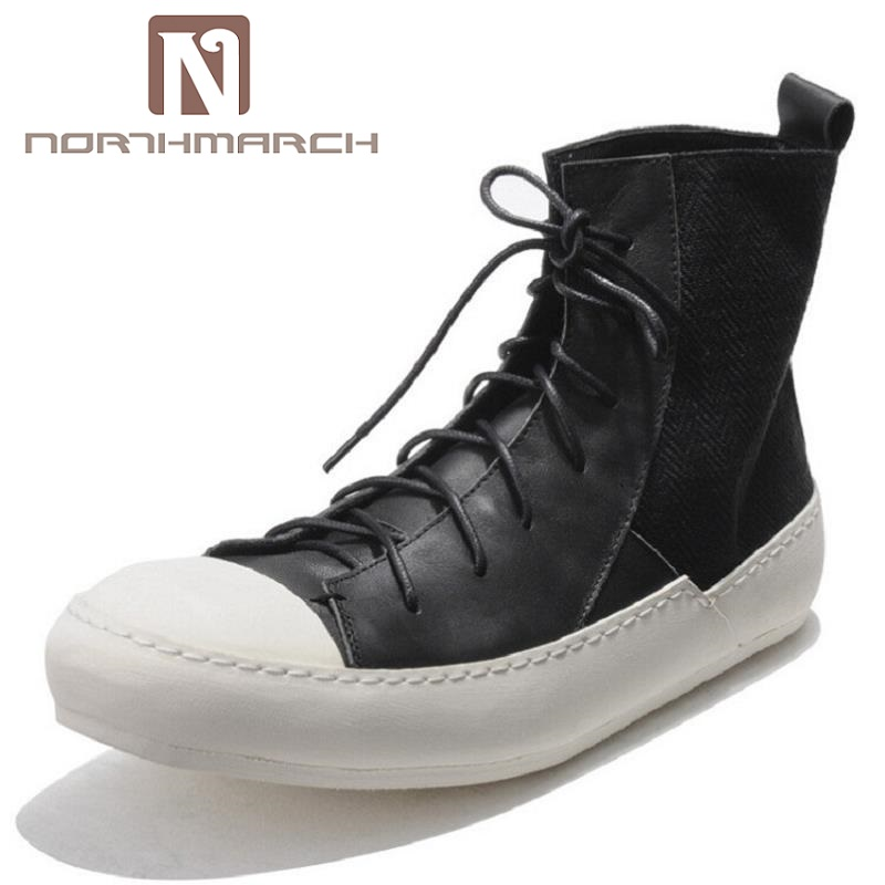 NORTHMARCH Luxury Fashion Shoes Men Lace-up High-top Flat Skate Shoes Genuine Leather Classics Round Toe Men Winter Shoes