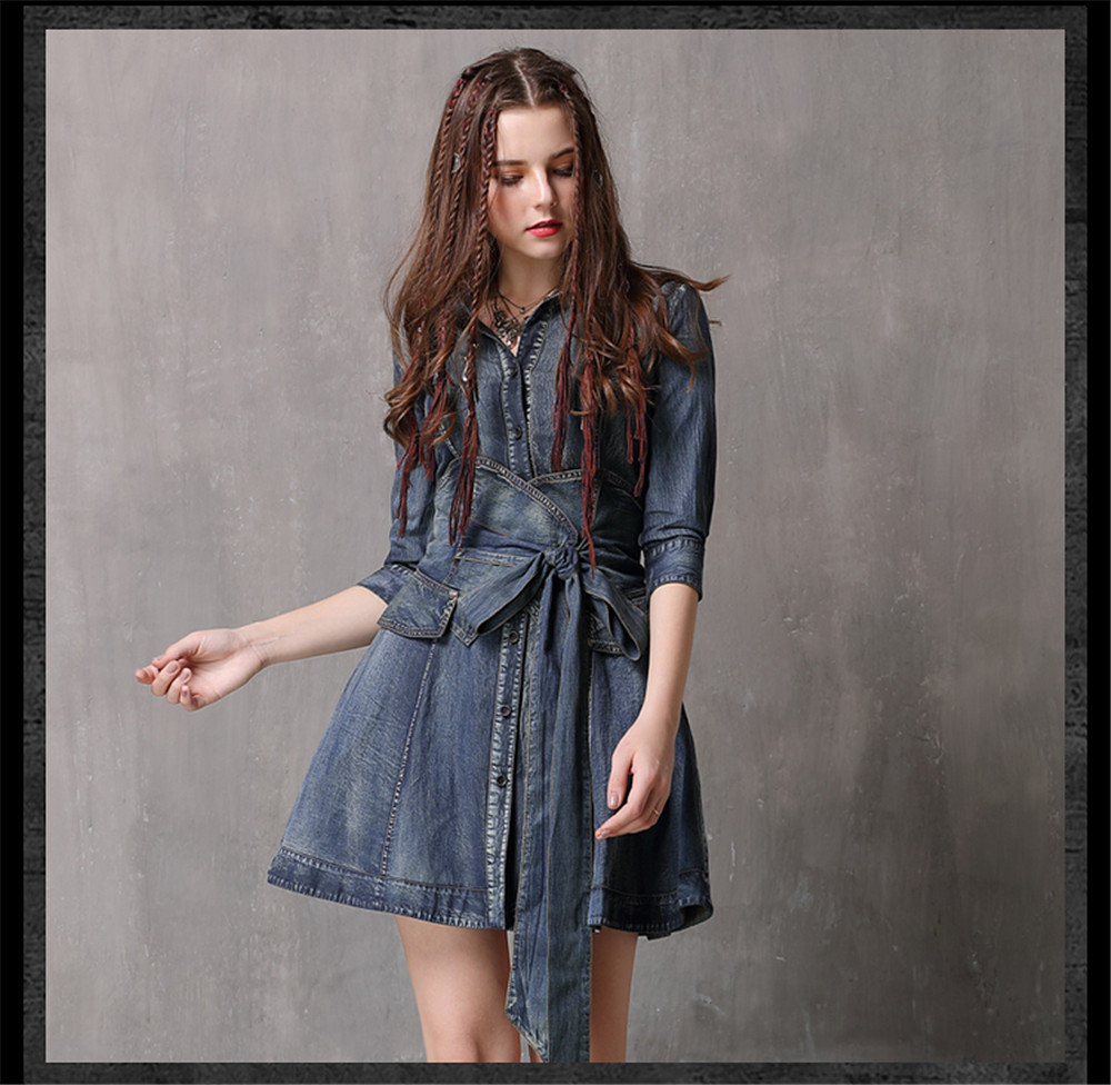 Vintage Summer Sashes Dress 2018 New Denim Three Quarter Sleeve  Dresses Turn-down Collar A-line Single Breasted Vestios (8)