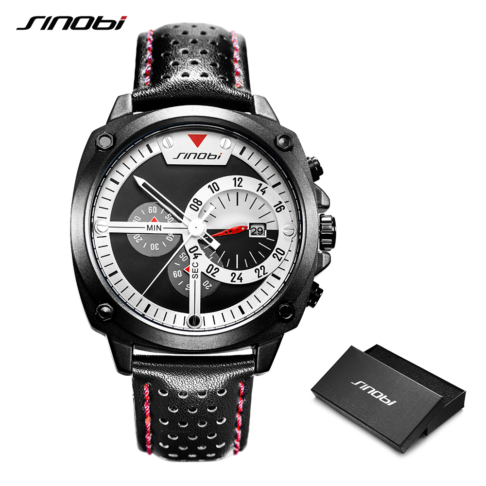 SINOBI 2019 Men Sports Watch Waterproof Chronograph Black Leather Watch Men's Stainless Steel Japanese Quartz Wristwatches