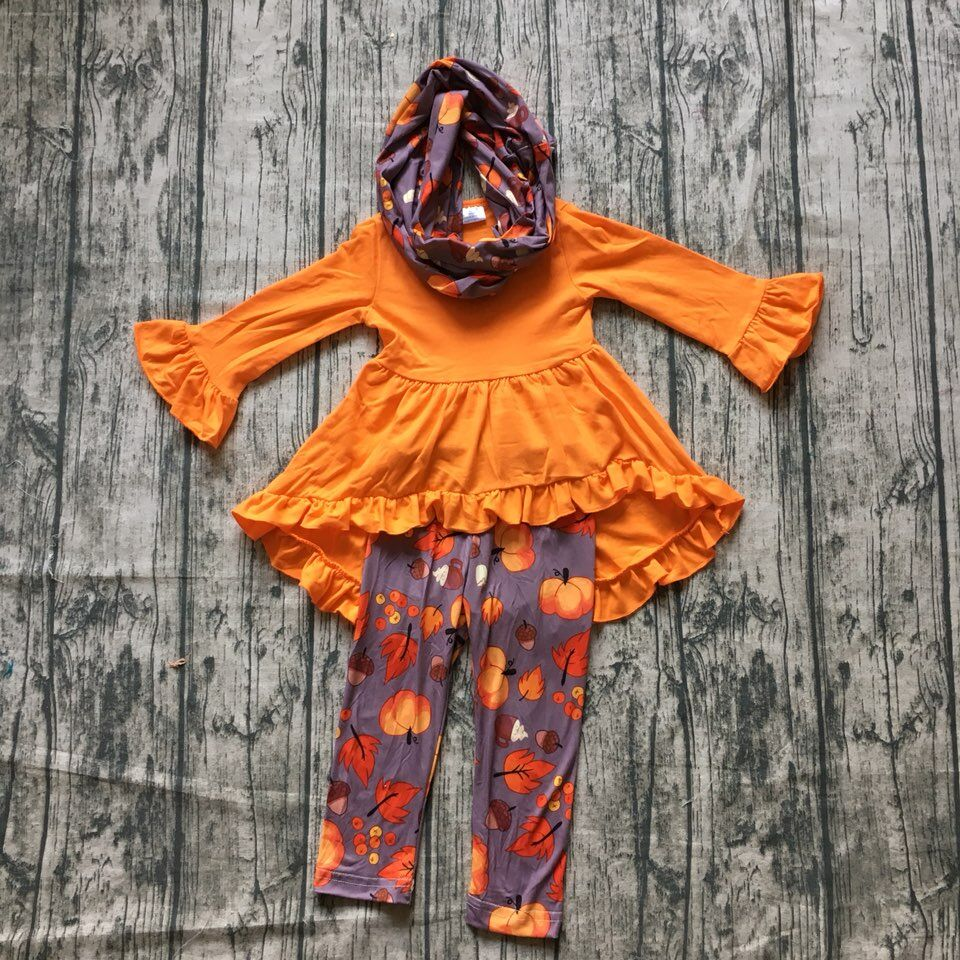 цена на new arrivals Fall/winter 3 pieces scarf orange top dress baby girls outfits clothes leaves pumpkin cotton pant boutique kid wear