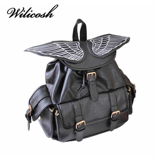Wilicosh Cute Wing Backpack Women's Backpacks for Teenage Girls Fashion Trendy School Rucksack Personality PU Mochilas HC5034