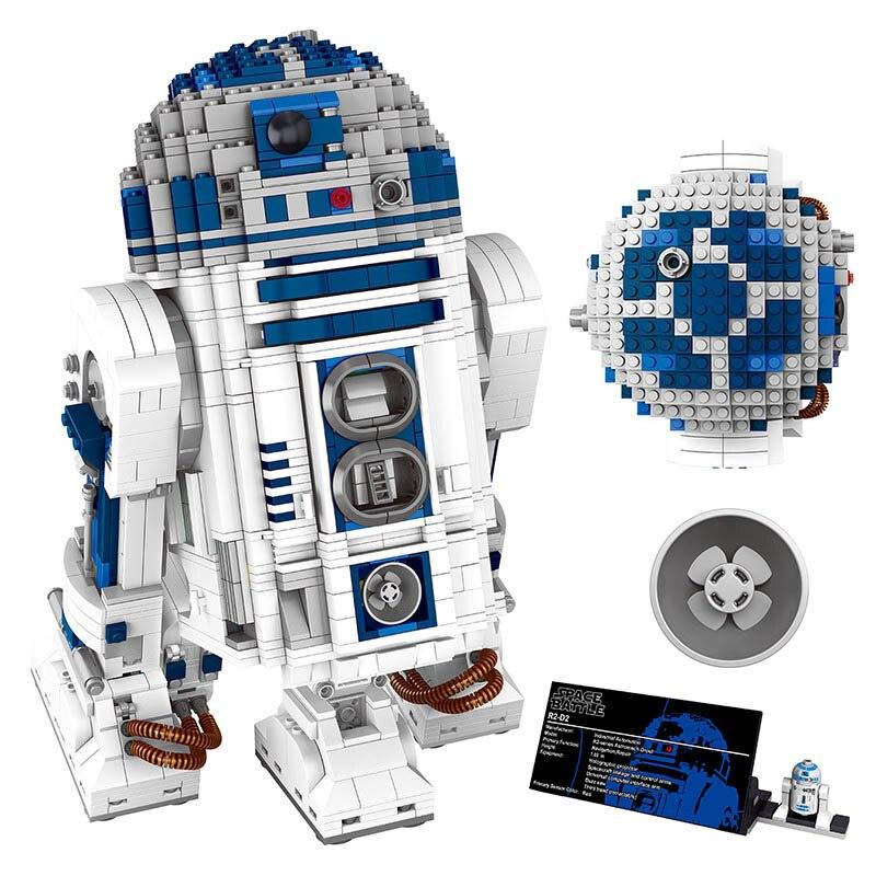Star Wars Series R2-D2 Robot Figure Blocks Compatible Legoingly 10225 05043 Space Battle Technic Building Block Sets Toy for Kid