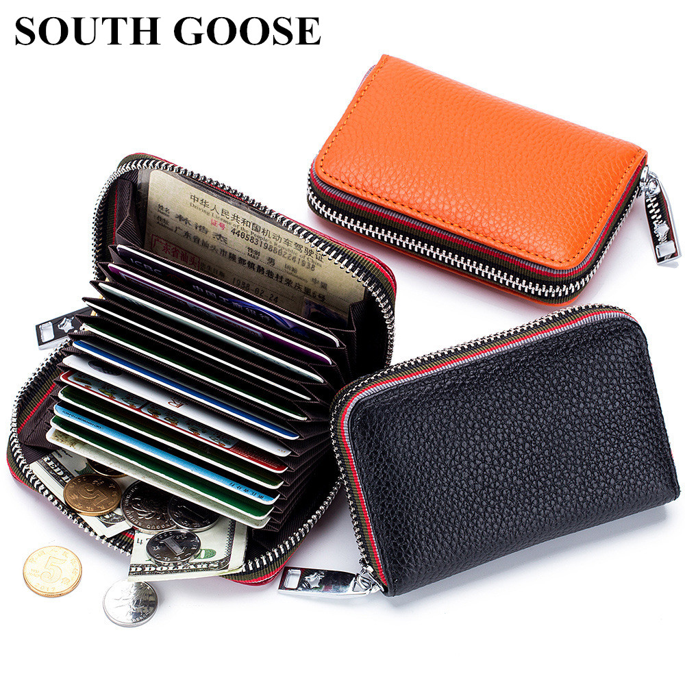 SOUTH GOOSE Genuine Leather Organizer RFID Credit Card Holder Men Business Card Holder Women Minimalist Travel Card Bag Wallets
