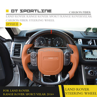 DT SPORTLINE Carbon Fiber Fibre Steering Wheel Cover For Land Rover Range Rover Sport Velar 2014+ Car Accessories Replacement