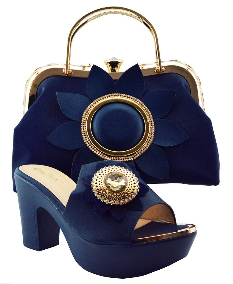 Fashion Latest African Matching Shoes and Bags Italian In Women Shoe and Bag Set for Party In Women Dark blue Nigerian Shoes