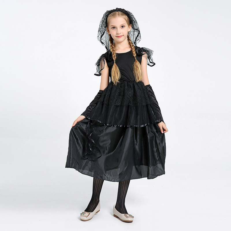 kids Halloween Costume Black veil Little Witch Girl bride Dresses Children witch Costumes