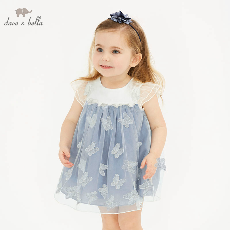 DBJ10541 DAVE BELLA summer baby girl princess clothes children party wedding dress kids sleeveless boutique butterflies