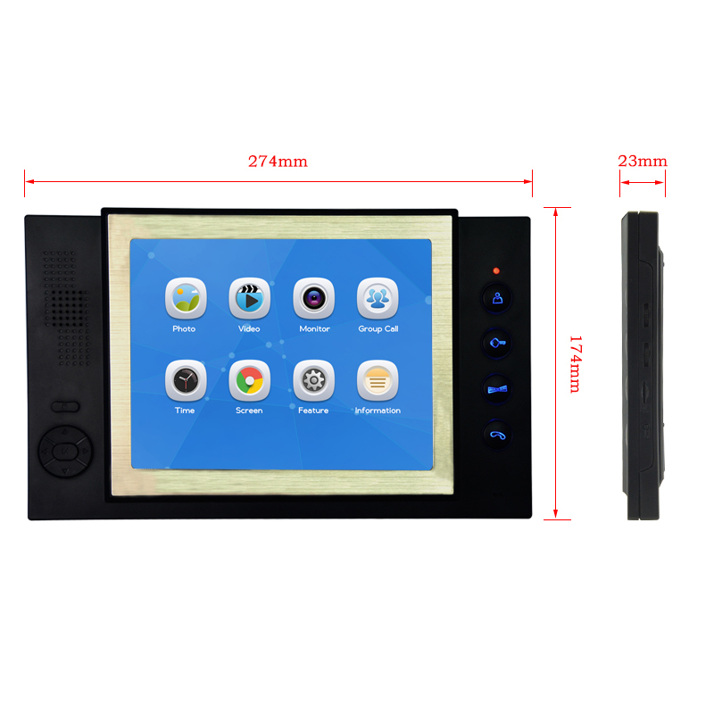 JEX 8 inch video intercom door phone system Only Monitor indoor Unit + Power Adapter FREE SHIPPING 801B jeruan 7 inch video intercom door phone system only monitor indoor unit power adapter free shipping 724