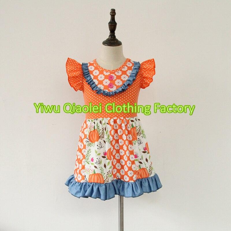 Nuevo diseño de halloween bebé boutique ropa de calabaza de halloween trajes