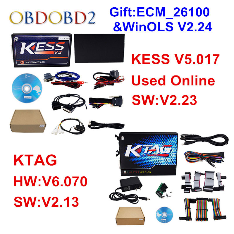 Цена за KESS V5.017 интернет-версия KESS 5.017 без маркер + KTAG V2.13 V6.070 V7.020 OBD2 менеджер Тюнинг автомобильный комплект Грузовик ЭБУ программист