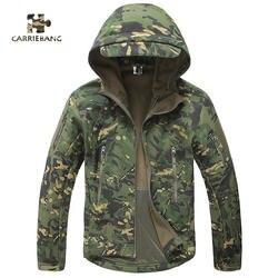 Мягкая оболочка военные тактические Комбинезоны для мужчин рабочие непромокаемые теплые камуфляжные с капюшоном армия США одежда мужская