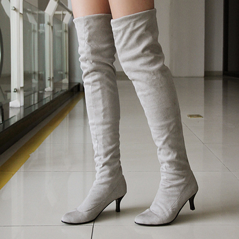 2016 New Brand Winter Women Over The Knee Boots Elastic Suede Leather Lady Sexy High Heels