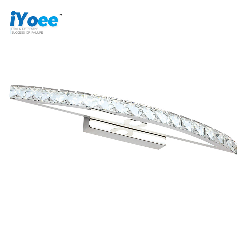 iYoee LED crystal bathroom light 85-265V 15W Stainless led wall sconce lamp Vanity over mirror bedroom restroom makeup lighting
