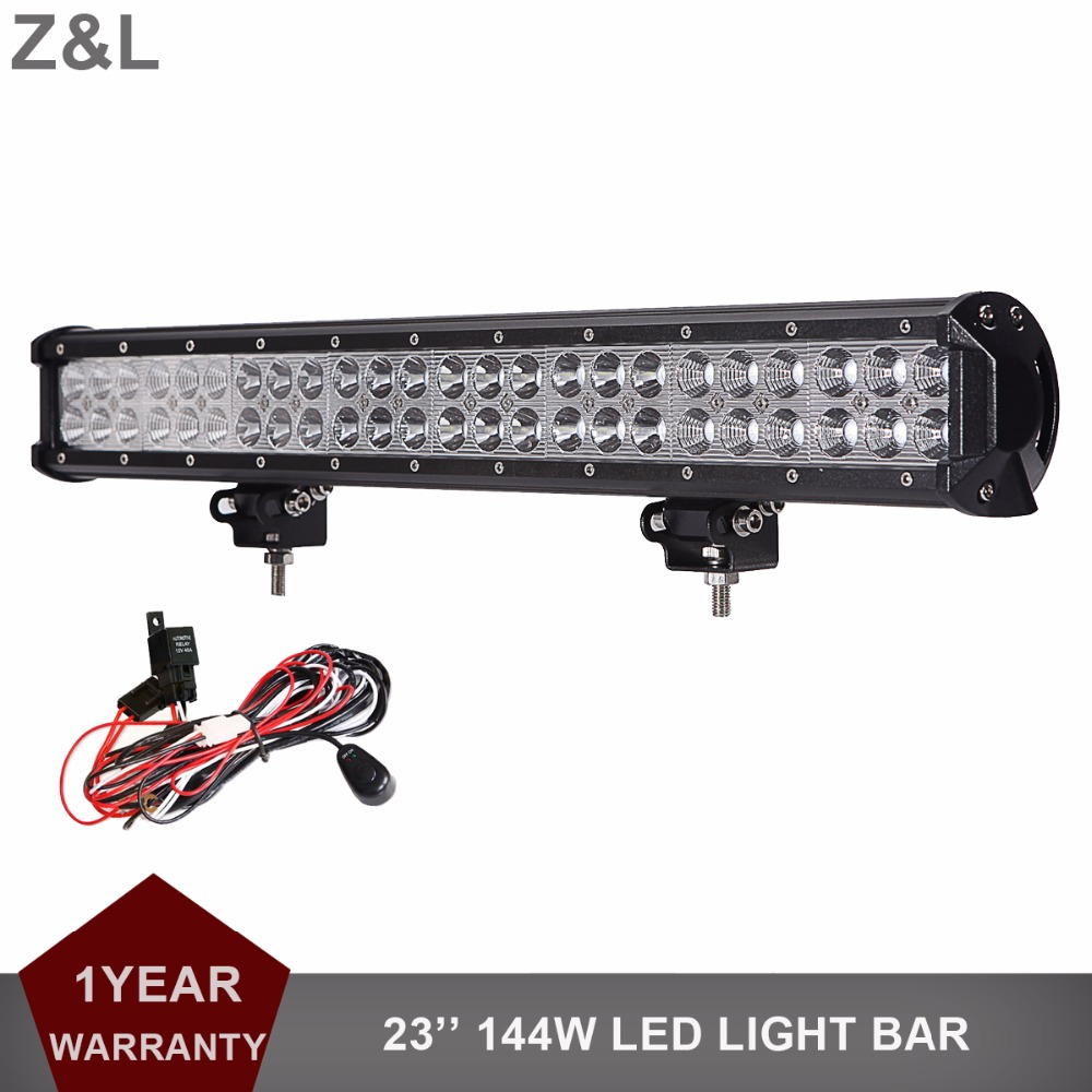 23'' 144W Offroad LED Light Bar 48x3W CREE Chips Driving Fog Lamp 12V 24V Car SUV Pickup Auto Truck Boat Tractor Wagon Lighting