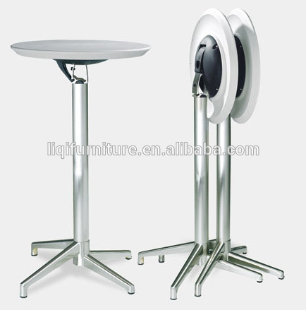 fashion modern outdoor folded ABS top brushed aluminum high cocktail table bar table LQ- BT309 цена