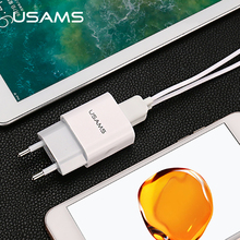 USAMS 2 Ports USB Charger 5V 2.4A totally EU/UK  Standard Mobile Phone Universal USB Travel Wall Charger for iPhone Samsung
