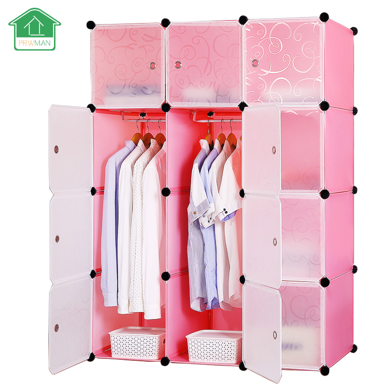 PRWMAN Furniture Clothes Wardrobe DIY Modular Shelving Simple Storage Organizing Closet Cube Design for Clothes, Shoes, Toys 20 cubes interlocking modular storage organizer shelving closet wardrobes rack with doors for home clothes shoes toys storage