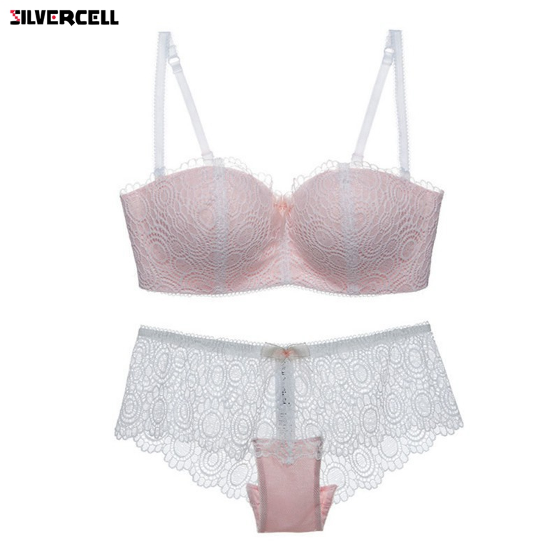 sexy   bra     set   lace cup thin wireless tube top design underwear accept supernumerary breast shaping summer women's   bra     set